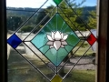 Stained glass window in Gompa