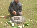 Guy with Vishi's memorial plaque