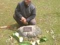 Guy with Vishi's memorial plaque