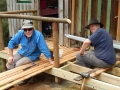 Richard and John working on new deck for Beyond hut